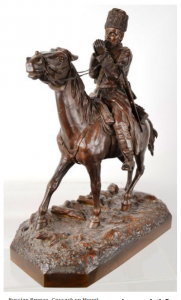Russian Bronze, Cossack on Mount, Signed Sculo Samonof